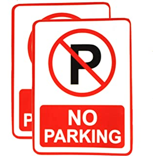 """eSplanade No Parking Sign Red & White Sticker Decal - Easy to Mount Weather Resistant Long Lasting Ink (Size -7.5""""x5.5"""")"""