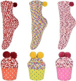 Regalo Navidad Calcetines Esponjosos de Mujer Calcetines de Lana Calcetines Dia de san Valentin