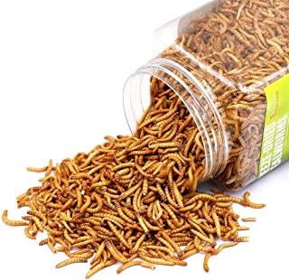 Sequoia Reptile Food Freeze Dried Mealworms Pet Worms Food for Bearded Dragon, Lizard, Turtles, Chameleon, Monitor, Frog, Chickens, Ducks, Wild Birds, Fish, Hamsters and Hedgehogs