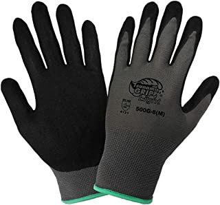 Global Glove 500G Tsunami Grip Air Injected Nitrile Glove, Work, Large, Black/Gray (Case of 72)