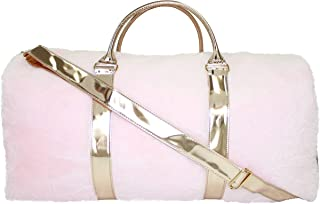 American Jewel Disco Vibe Fur Duffel Travel Bag -Girls & Teen Accessories - Pink Fur with Rose Gold