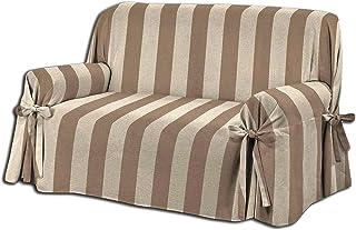 Funda para sofá con lazos en 3 tamaños, color marrón y beige, tejido jacquard a rayas, 1 plaza