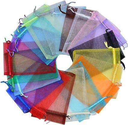 Amazon Com 100 Bolsas De Regalo De 3 9 X 5 9 In Color Mezclado Tela De Organza Transparente Bolsas De Cordón Para Regalo De Baby Shower Joyas Adornos De Navidad Día De San Valentín