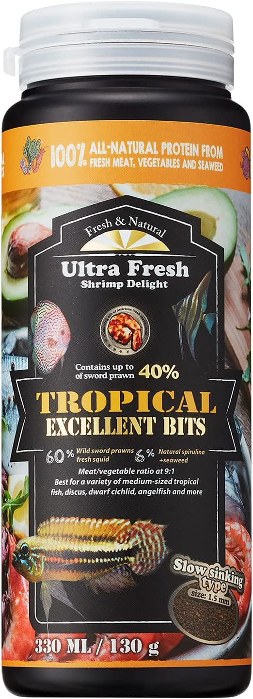 [Picky Midsize Tropical Fish Food] Ultra Fresh - Tropical Excellent Bits, Wild Sword Prawn, Natural Spirulina, Excellent Palatability with Natural Color Enhancement, and Keep Cleaner Water, Slow Sinking Granule for Discus, Angelfish, Dwarf Cichlids, etc.