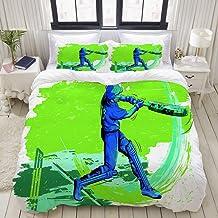 HKIDOYH Duvet Cover Set,Concept of Sportsman Playing Cricket Design,Comforter Set Ultra Soft Microfiber Floral Print Beddi...