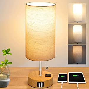 Bedside Lamp, Dimmable Table Lamp for Living Room, Nightstand Lamp for Bedroom, USB Ports & AC Outlet, Desk Light Linen Shade for Reading, Home Office Dorm Kids Room, Pull Chain LED Bulb Included