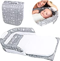 Relubby Breathable Portable Infant Travel Bed, Lightweight Comfortable Cotton Newborn Lounger with Carrying Bag & Pillow for 0-24 Months Infant