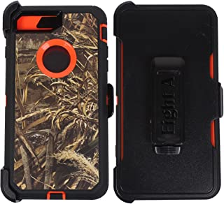 Heavy Duty Impact Rugged with Built-in Screen Protector Camouflage Protective Case Cover with Clip for Apple iPhone 8 Plus(Orange-Grass-Camo)