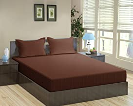 """Trance Home Linen Cotton 200TC Fitted Bedsheet (King 78"""" x 72""""_Chocolate Brown)"""