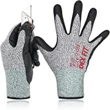 DEX FIT Level 5 Cut Resistant Gloves Cru553, 3D Comfort Stretch Fit, Durable Power Grip Foam Nitrile, Pass FDA Food Contact, Smart Touch, Thin Machine Washable, Grey Medium 1 Pair