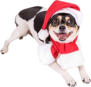 Clever Creations Red and White Santa's Hat and Scarf Christmas Dog Outfit   Festive Holiday Pet Costume   Perfect for Many Breeds   Hat Measures 6.5