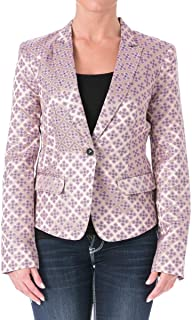 Elizabeth & James Tile Abigail Jacquard Jacket 4 Gold Orchid Purple Printed Blazer Womens