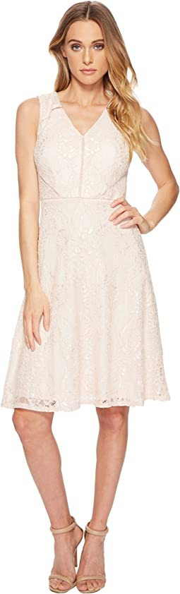 Adrianna Papell - Rose Lattice Lace Fit and Flare