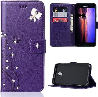 Galaxy J7 2018 Case,For Galaxy J7 Aero/J7 Star/J7 Top/J7 Crown/J7 Aura/J7 Refine/J7 Eon Case,Butterfly Flower Embossed PU Leather Flip Cover TPU Inner Bumper Card Holders Wallet Case Purple/Bling