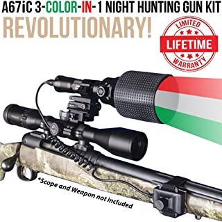 Wicked Lights A67iC 3-Color-in-1 (Green, Red, White LED) Night Hunting Gun Light Kit with Intensity Control for Coyote, Predator, Varmint & Hogs