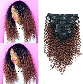 Sassina Unprocessed Remy Human Hair Clip In Extensions Two Tone Color Jerry Curly 3B 3C Natural Black Ombre to Auburn 120 Grams per Lot With 7 Pieces 17 Clips For A Full Head JCTN33 16inch