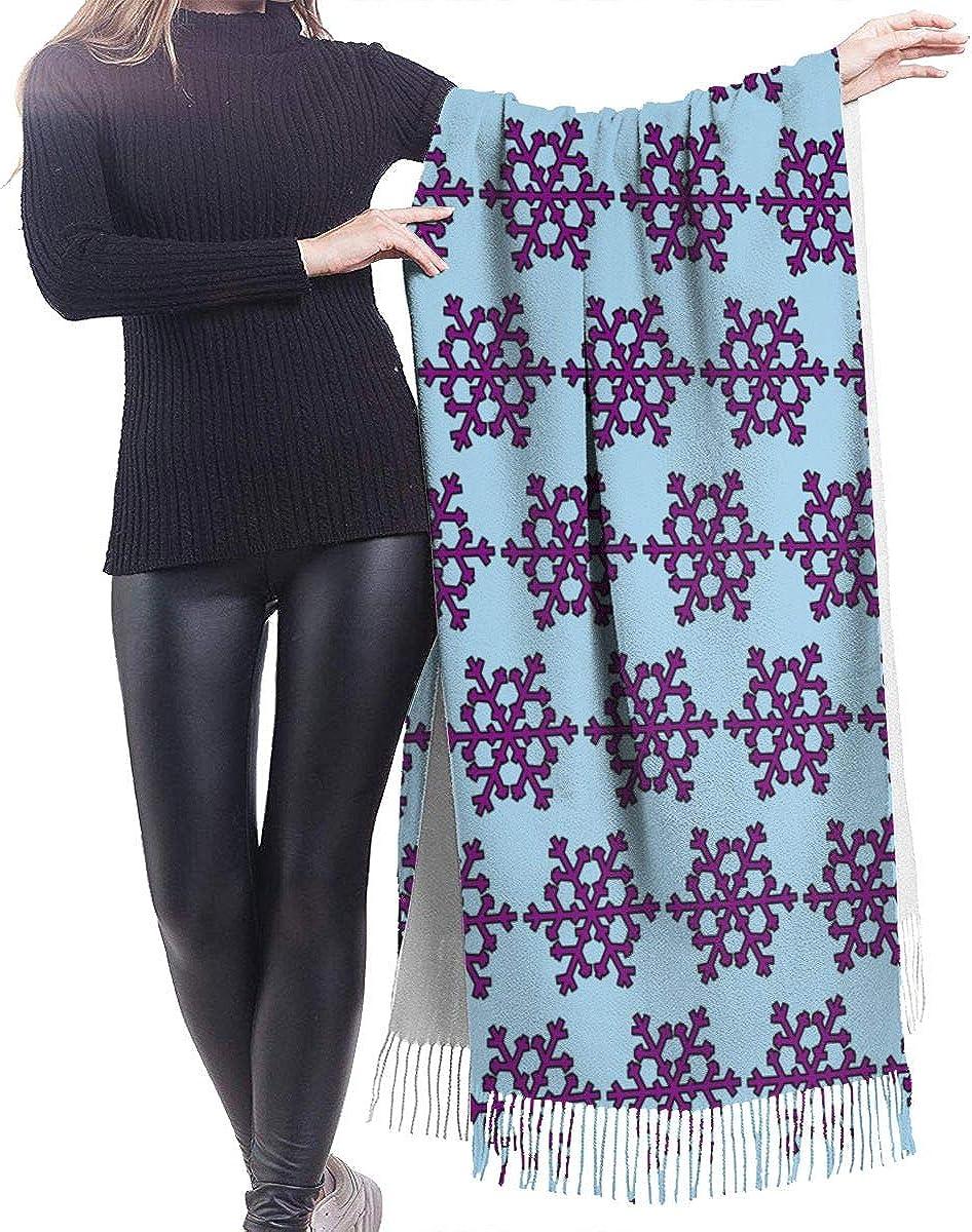Purple Snowflake Cashmere Shawl Wrap Scarf Large Warm Scarf For Women