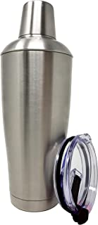 Stock Harbor Stainless Steel 30 Ounce (887 Milliliter) Double Wall Cocktail Shaker Vacuum Insulated Tumbler and Shaker Top; Matte Polished