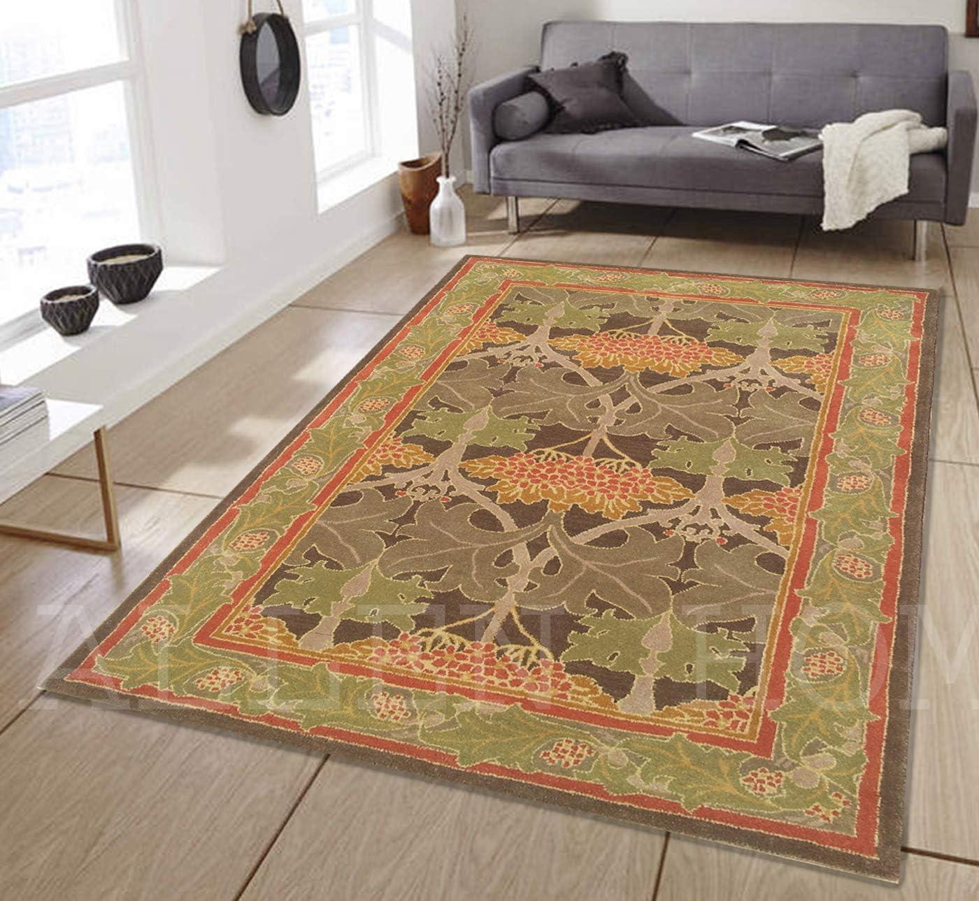 Allen Home Wool Rug 2.5'X9' 3'X5' 5'X8' 8'x10' 9'X12' Mariya Green Tufted William Morris Art and Crafts Persian Traditional Wool Rug Carpet (6'X9')