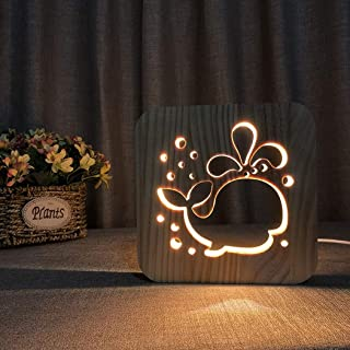 Night Light 3D Wood Hollow Carving Animal Whale R Shape Edging Table Lamp, Mesita de Noche Creative Gift Light, Simple Smooth Surface Sculpture, Living Room Bedroom Home Decoration Gift Ligh