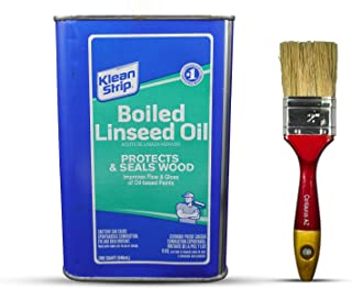 Klean Strip Boiled Linseed Oil 1 Quart with Centaurus AZ Paintbrush, Protects, Seals Unfinished Wood, Produce Beautiful Fi...