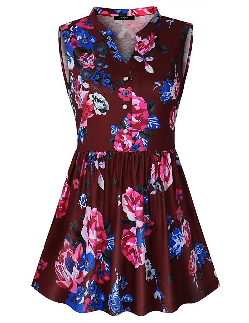 Women's Summer Sleeveless Notch V-Neck Shirts Casual Floral Swing Tunic Tank Tops