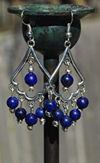 Lapis Lazuli Boho Style Chandelier Earrings