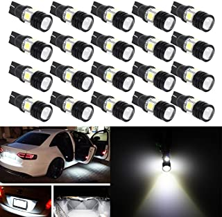20pcs Super Bright 194 168 175 2825 W5W 158 161 T10 Wedge High Power 5050 SMD 6000K LED Bulbs, Xenon White(Best Value on the market)