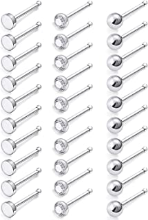 Ocptiy 30-Pack 20G Nose Studs Rings 316L Surgical Steel Clear CZ Nariz Nostril Piercing Jewelry for Women Men