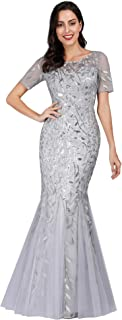 silver evening dresses with sleeves