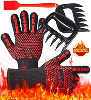EUHOME 3 in 1 Grilling Set Accessories with EN407 Certified 1472 F° Extremely Heat Resistant Gloves BBQ, Grill Brush & BBQ Bear Claws for Grill, Baking, Christmas, Thanksgiving
