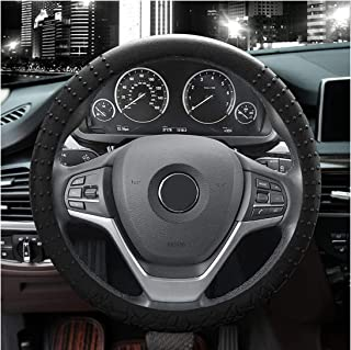 JYPC Silicone Steering Wheel Cover,Non-Slip and Sweat Absorbent, Universal 13 to 15 inches(Black) (Black)