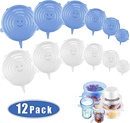 YeeStone Stretchable Silicone Lids Pack of 12 Silicone Stretch Lid Silicone Cover in Various Sizes Reusable Permanently Expandable for Bowls, Cups, Cans, Fruit (Blue and Transparent)