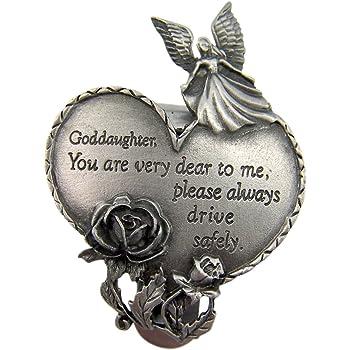 Never Text and Drive Godchild 2 1//2 Inch WJ Hirten Pewter Guardian Angel Visor Clip