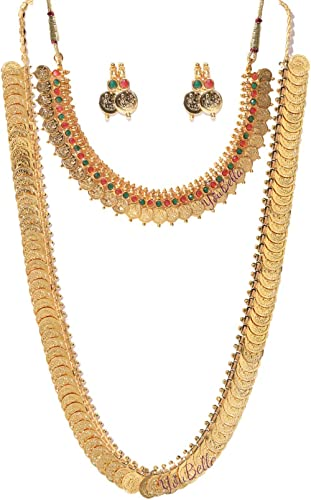 YouBella Jewellery Gold Plated Jewellery Long Traditional Maharani Coin Necklace Set and Red Green Coin Jewellery Set...