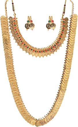 YouBella Jewellery Traditional Temple Coin Combo of Laxmi Coin Red Green Necklace Set/Jewellery Set with Earrings for Girls and Women