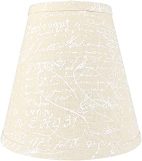 Urbanest Hardback Faux Linen Empire Lamp Shade 5-inch by 9-inch by 8.5-inch, Natural with White Script, Spider Washer Fitter