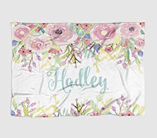 Personalized Baby Blanket - Watercolor Floral Drop - Frame - 30 X 40 - Plush Fleece Swaddle - Baby Girl Bedding - Cute Floral - Birth Announcement - Baby Shower Gift