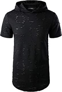 Sponsored Ad - ATRYONE Mens Hip Hop Hipster Hoodie Short Sleeve Solid Color Pullover Scallop Hemline Hole T Shirt