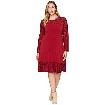 MICHAEL Michael Kors Plus Size Fabric Mix Long Sleeve Dress (Maroon) Women