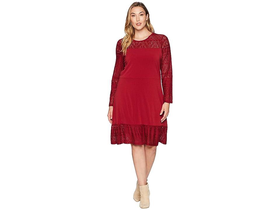 MICHAEL Michael Kors Plus Size Fabric Mix Long Sleeve Dress (Maroon) Women