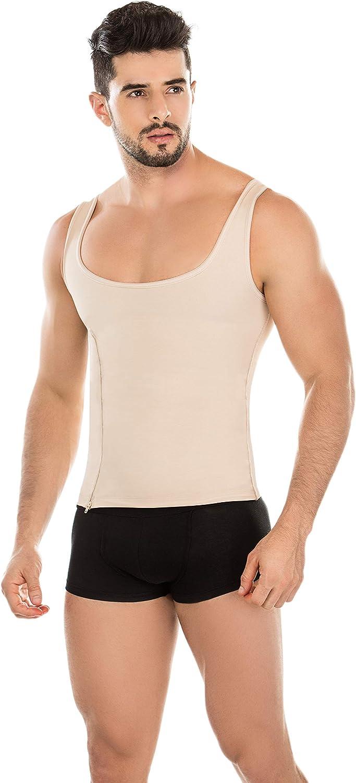 Fresh & Light Premium Colombian Mens Shapewear Muscle Tshirt Tank Top Abs Zipper Fat Burner. Fajas Colombianas