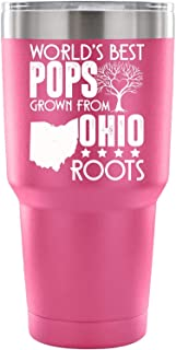 My Ohio Double Wall Vacuum Insulated Tumblers with Straw, Pops Double Wall Stainless Steel Insulated Tumbler, 30-Ounce (30oz - Pink)