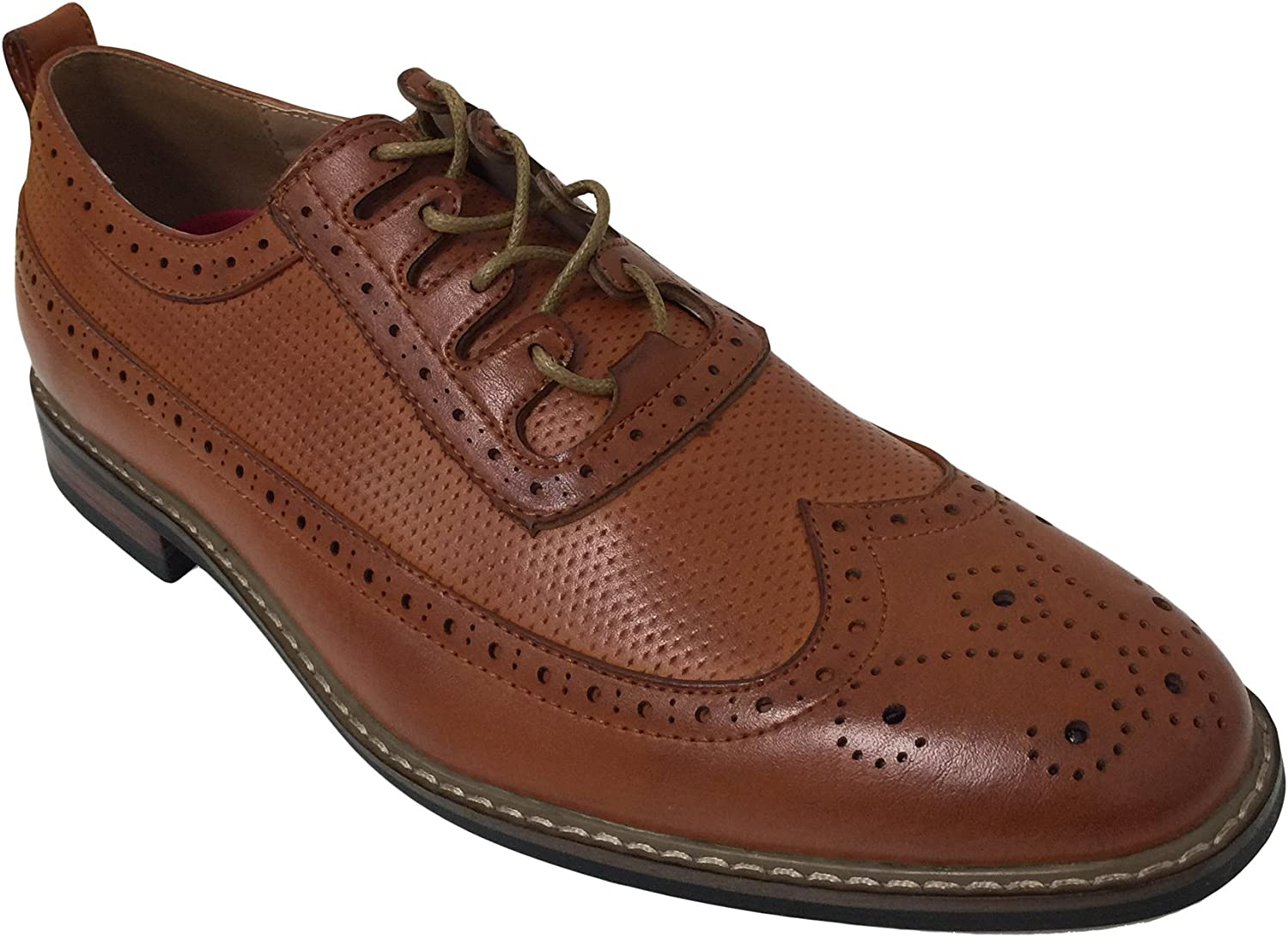 BWO4D Men's Oxfords Wing Tip Lace up Leather Lined Fashion Brogue Casual Classic Dress Shoes