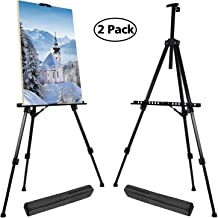 T-SIGN 66 Inches Reinforced Artist Easel Stand, Extra Thick Aluminum Metal Tripod Display Easel 21 to 66 Inches Adjustable Height with Portable Bag for Floor/Table-Top Drawing and Displaying, 2 Pack