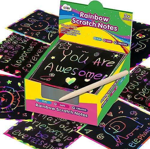ZMLM Rainbow Scratch Mini Art Notes - 125 Magic Scratch Note Off Paper Pads Cards Sheets for Kids Black Scratch Note ...