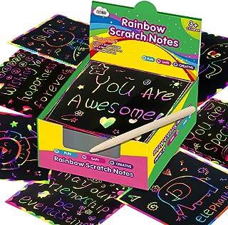 ZMLM Rainbow Scratch Mini Art Notes - 125 Magic Scratch Note Off Paper Pads Cards Sheets for Kids Black Scratch Note Arts ...