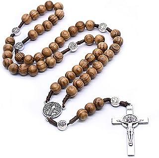 Handmade Wooden Resin Crucifix Rosary Beads Chain Pendant Necklace Colorful Love Heart Catholic Cross Virgin Mary Jesus Ne...