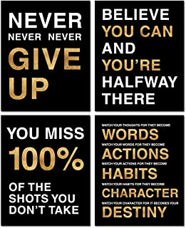 Ihopes Motivational Quote Workout Gym Posters - Classroom Office Wall Art Decals - Inspirational Teen Work Decor - 8x10 in...