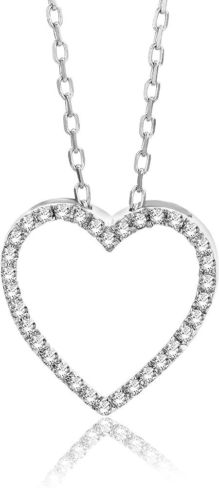 Orovi,collana per donna ,con pendente a forma di cuore in oro bianco 9kt(0,7 gr) con zirconi OR81187N